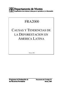 FRA2000 CAUSAS Y TENDENCIAS DE LA DEFORESTACION EN AMERICA LATINA