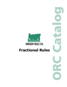 Fractional Rules. ORC Catalog