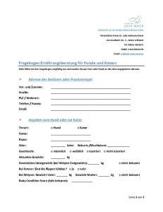 Fragebogen Ernährungsberatung für Hunde und Katzen