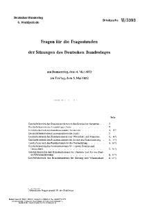 Fragen für die Fragestunden. der Sitzungen des Deutschen Bundestages