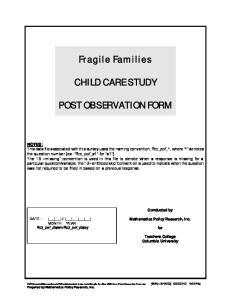 Fragile Families CHILD CARE STUDY POST OBSERVATION FORM