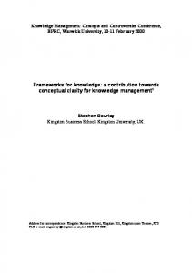 Frameworks for knowledge: a contribution towards conceptual clarity for knowledge management 1
