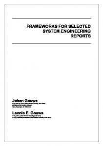 FRAMEWORKS FOR SELECTED SYSTEM ENGINEERING REPORTS