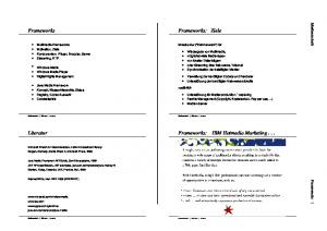 Frameworks: Ziele. Frameworks. Frameworks: IBM Hotmedia Marketing... Literatur. Medientechnik Frameworks 1. Infrastruktur (