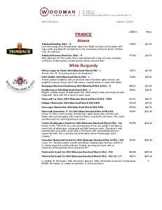 FRANCE. White Burgundy RETAIL PRICE LIST JANUARY 13, 2017