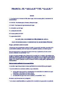 FRANCIA : EL S.D.A.G.E Y EL S.A.G.E