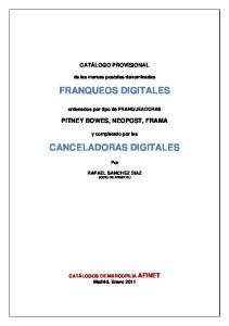 FRANQUEOS DIGITALES CANCELADORAS DIGITALES