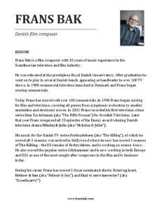 FRANS BAK. Danish film composer RESUME