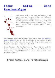 Franz Kafka, eine Psychoanalyse