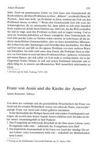 Franz von Assisi und die Kirche der Armen*