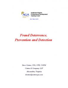 Fraud Deterrence, Prevention and Detection