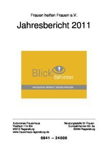 Frauen helfen Frauen e.v. Jahresbericht Regensburg Regensburg