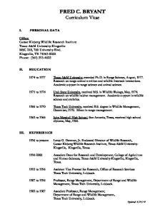 FRED C. BRYANT Curriculum Vitae