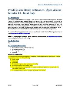 Freddie Mac Relief Refinance- Open Access Investor 24 - Retail Only