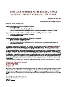 FREE AND REDUCED PRICE SCHOOL MEALS APPLICATION AND VERIFICATION FORMS