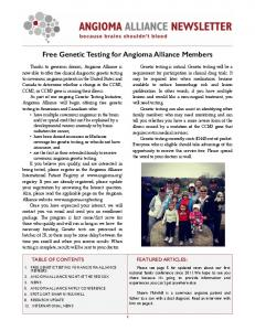Free Genetic Testing for Angioma Alliance Members