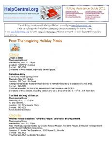 Free Thanksgiving Holiday Meals