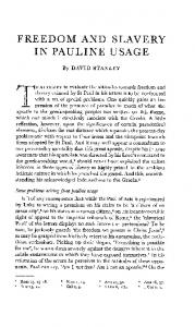 FREEDOM AND IN PAULINE SLAVERY USAGE. Some problems arising from pauline usage. By DAVID STANLEY