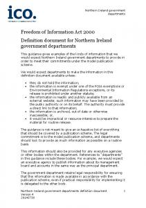 Freedom of Information Act 2000 Definition document for Northern Ireland government departments