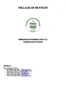 FREEDOM OF INFORMATION ACT COMPLIANCE PACKET