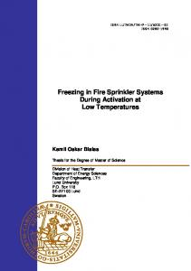 Freezing in Fire Sprinkler Systems During Activation at Low Temperatures