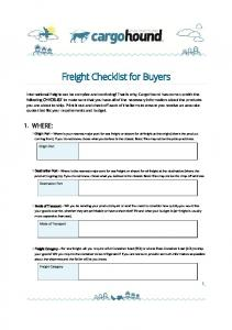 Freight Checklist for Buyers