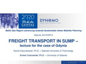 FREIGHT TRANSPORT IN SUMP lecture for the case of Gdynia