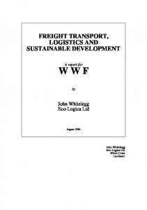 FREIGHT TRANSPORT, LOGISTICS AND SUSTAINABLE DEVELOPMENT