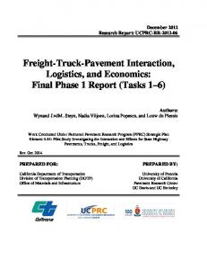 Freight-Truck-Pavement Interaction, Logistics, and Economics: Final Phase 1 Report (Tasks 1 6)