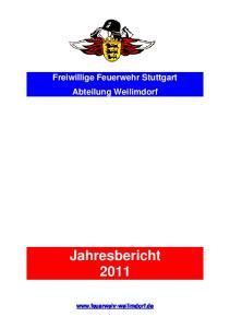 Freiwillige Feuerwehr Stuttgart Abteilung Weilimdorf. Jahresbericht