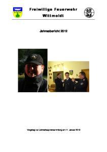Freiwillige Feuerwehr Wittmoldt. Jahresbericht 2012