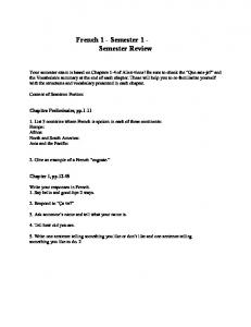 French 1 - Semester 1 - Semester Review