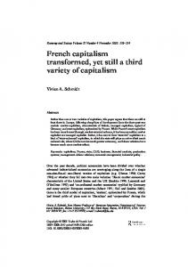 French capitalism transformed, yet still a third variety of capitalism