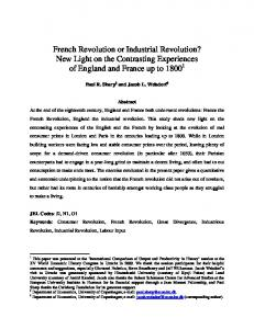 French Revolution or Industrial Revolution? New Light on the Contrasting Experiences of England and France up to