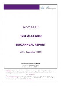 French UCITS H2O ALLEGRO SEMIANNUAL REPORT. at 31 December 2015