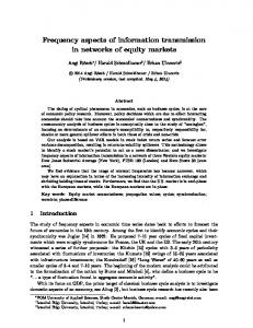 Frequency aspects of information transmission in networks of equity markets