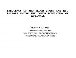FREQUENCY OF ABO BLOOD GROUP AND Rh-D FACTORS AMONG THE DONOR POPULATION OF WARANGAL