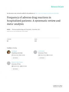 Frequency of adverse drug reactions in hospitalized patients: A systematic review and meta-analysis