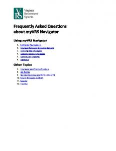 Frequently Asked Questions about myvrs Navigator