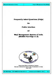 Frequently Asked Questions (FAQs) Public Interface. Waqf Management System of India [WAMSI-Pub-FAQs v1.0]