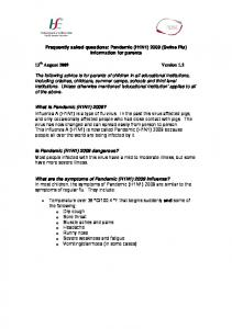 Frequently asked questions: Pandemic (H1N1) 2009 (Swine Flu) information for parents