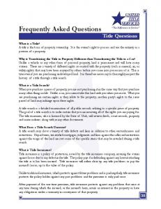 Frequently Asked Questions Title Questions