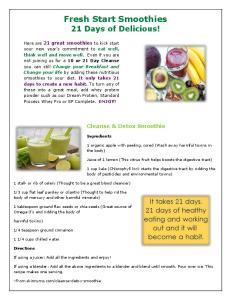 Fresh Start Smoothies 21 Days of Delicious!