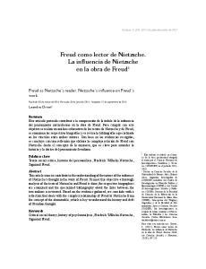Freud como lector de Nietzsche. La influencia de Nietzsche en la obra de Freud 1