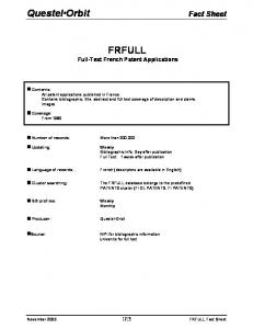 FRFULL Full-Text French Patent Applications