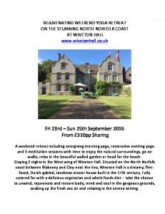 Fri 23rd Sun 25th September 2016 From 310pp Sharing