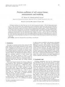 Friction coefficient of soft contact lenses: measurements and modeling