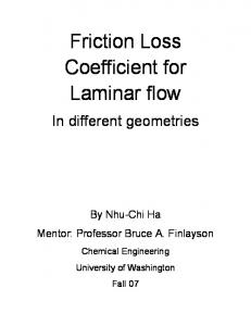 Friction Loss Coefficient for Laminar flow