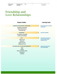 Friendship and Love Relationships