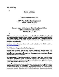 Frisch Financial Group, Inc. ADV Part 2B, Brochure Supplement Dated: March 24, 2016